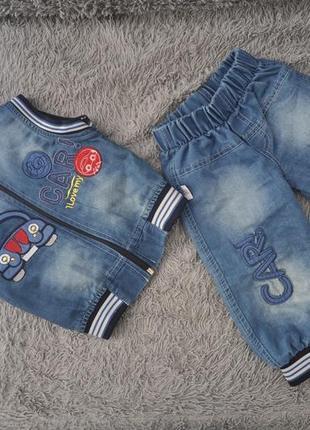 Джинсовый костюм с жилеткой (брюки и жилетка)