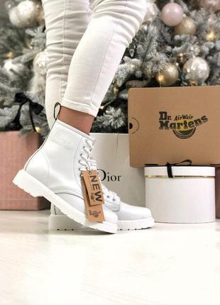 Женские осенние кожаные ботинки/ сапоги dr. martens 1460 white...