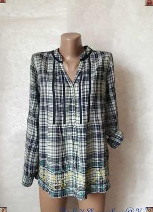 Фимренная per una блуза/рубашка со 100% хлопка в клетку  и выш...