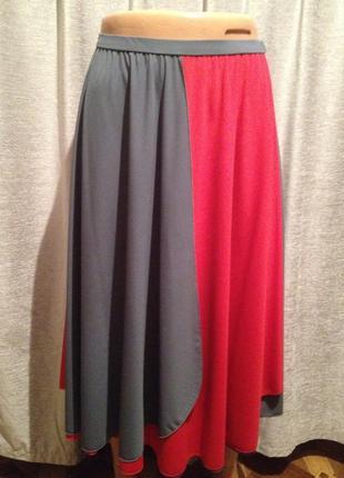 Оригинальная расклешенная двухцветная юбочка.1001