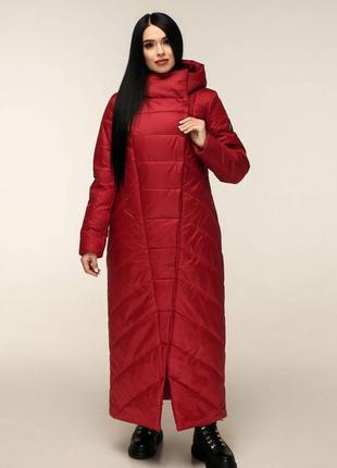 Пуховик-одеяло пв-1133 лаке тон 137 темно-красный, р.44-58, ук...
