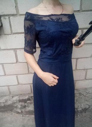 Красивое платье в пол с кружевном раз.м-l