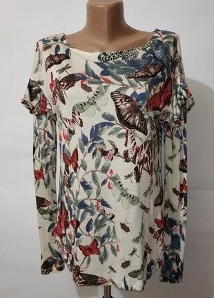 Натуральная красивая блуза с насекомыми h&m uk 12/40/m