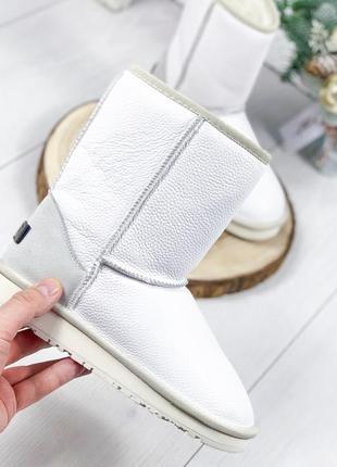❤ женские белые зимние кожаные угги ботинки сапоги полусапожки...
