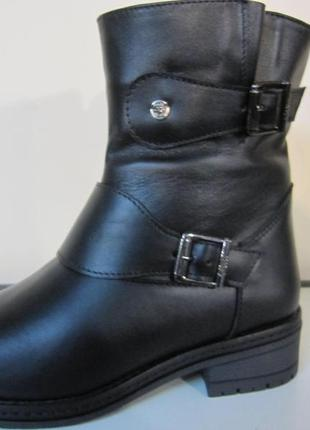 Кожаные женские  зимние ботинки
