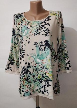 Вискозная блуза с птичками в паетках marks&spencer uk 14-16/42...