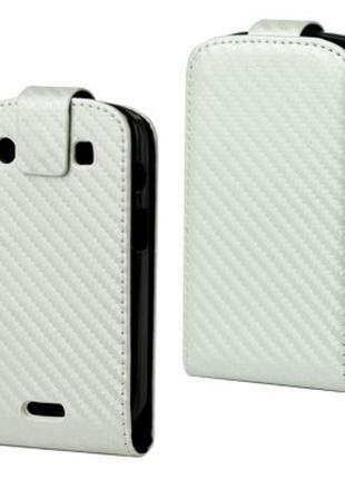 Чехол книжка для BlackBerry Bold 9900 / 9930, карбон белый