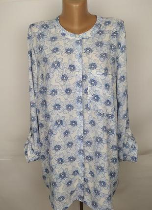 Блуза рубаха красивая в цветы большой размер uk 20/48/3xl