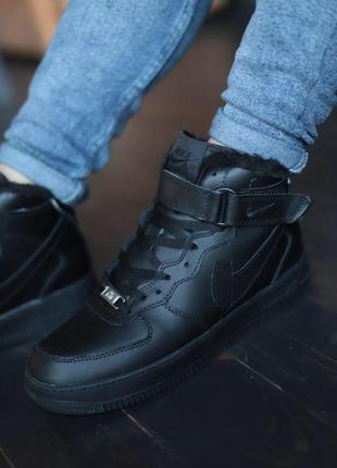 Шикарные мужские зимние кожаные кроссовки nike air force 1 bla...