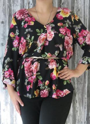 Шикарная блуза с длинным рукавом большой размер батал супер ра...