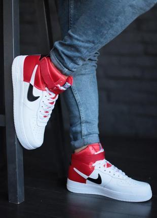 Шикарные мужские кожаные кроссовки nike air force high white r...