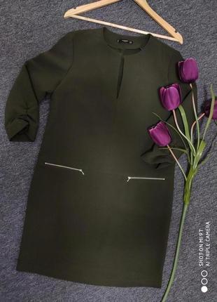 Крутое обемное платье миди с карманчиками раз.м