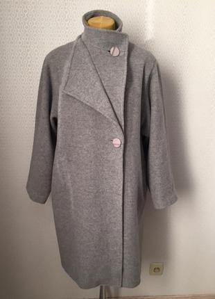 Оригинальное шерстяное (80%) пальто большой размер ит 50, нем ...