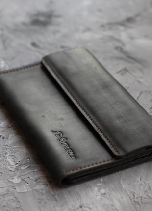 Мужское кожаное портмоне клатч  черный