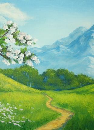 "Картина пейзаж весенний ""У подножия гор"""