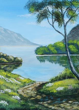 """Картина пейзаж зеленый природа """"Дорога к озеру"""""""