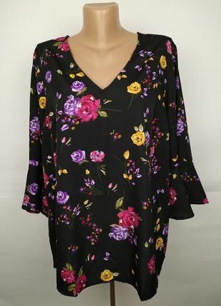 Привлекательная блуза в цветы большой размер uk 18/46/xxl