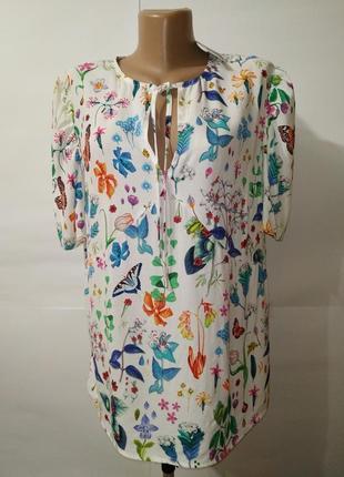 Блуза новая красивенная натуральная цветочная next uk 12/40/m