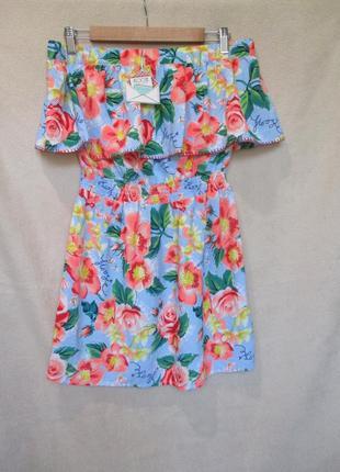 Воздушное летнее платье с воланом/открыты плечи/цветочный принт