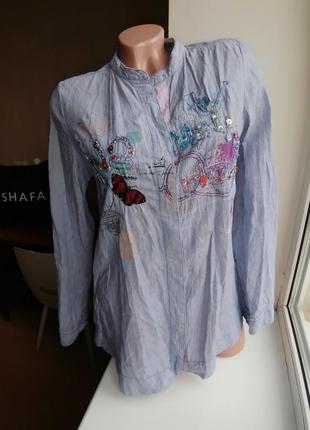 Натуральная хлопковая рубашка с вышивкой и бисером desigual (к...