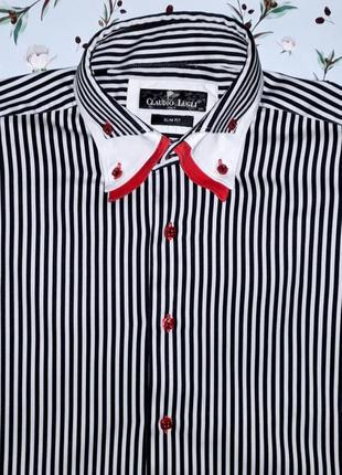 🎁1+1=3 дизайнерская рубашка в полоску claudio lugli, размер 48...