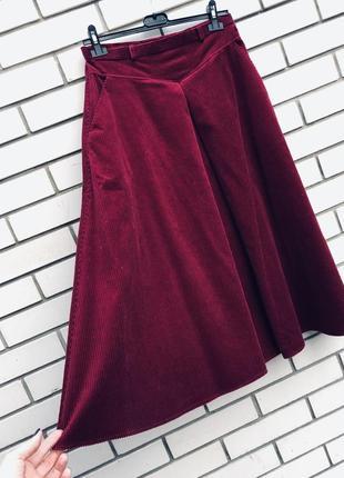 Винтаж,юбка с карманами,а-силуэт,крупный вельвет,марсала,