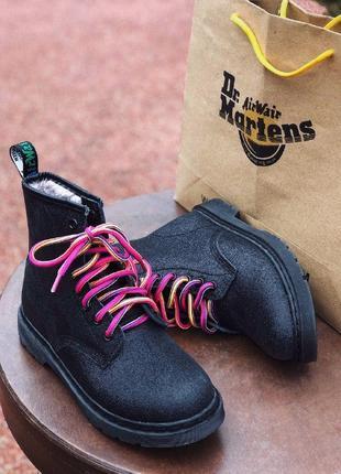 Dr. martens black fur galaxy  зимние женские ботинки мартинс меху