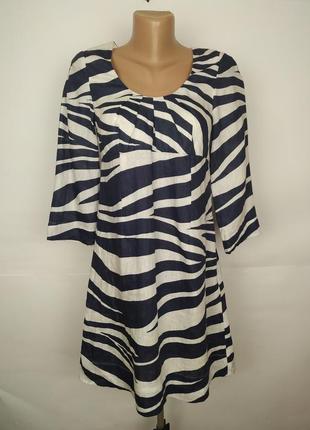 Платье туника льняное натуральное в принт зебра boden uk 8/36/xs