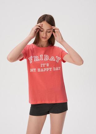 Новая пижама коралловая футболка серые шорты польша пятница мо...