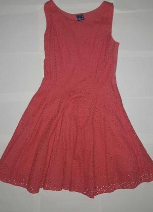 Коралловое ажурное платье