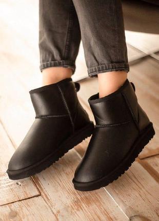 Ugg classic leather black угги унисекс черные