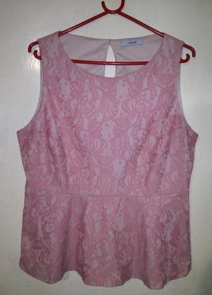 Красивая,гипюровая-кружевная,розовая-пудровая блуза с баской,б...
