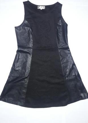 Платье со вставками эко кожи