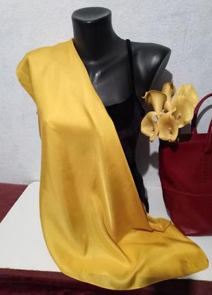 Натуральный шелк, жёлтый платочек, 66*70