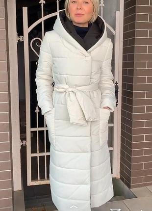 Пуховое пальто с капюшоном season молочного цвета