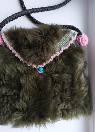 Большая меховая сумка + кожа  ручка, мех козы.