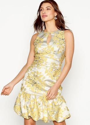 Премиальное желтое платье в принт цветы