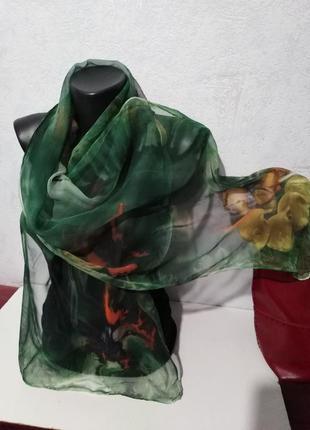 Натуральный шелк, нежная вуаль, шарфик, 162*39