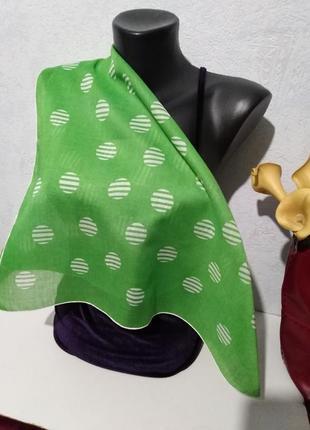 Натуральный хлопок, нежный батист, зелёный платочек, 57*56