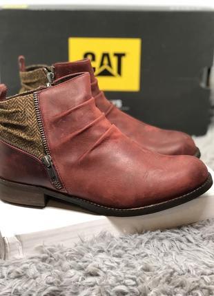 Бордовые ботинки из натуральной кожи, бренд