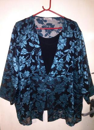 Нарядная,красивейшая блуза с трикотажной маечкой,большого 26-3...