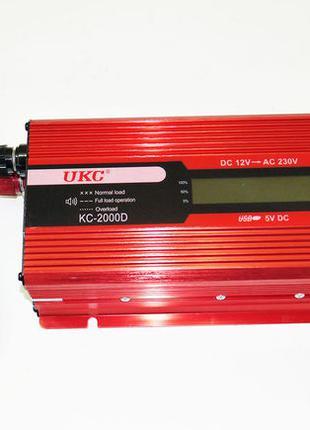Инвертор преобразователь 12-220V 2000W LED дисплей