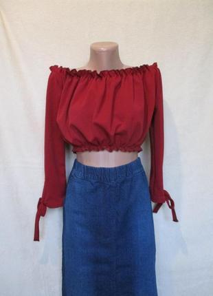 Стильный топ блуза/кроп топ с рукавом/открыты плечи