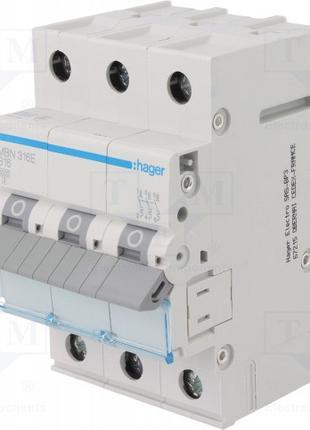 HAGER MBN316E автоматичний вимикач 3P 6kA B-16A
