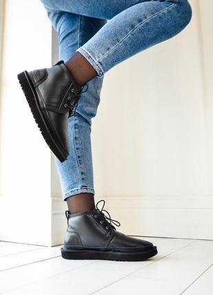 Зимние ботинки ugg из кожи с натуральным мехом /осень/зима/весна😍