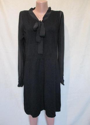 Трикотажное платье миди с длинным шифоновым рукавом/платье теплое