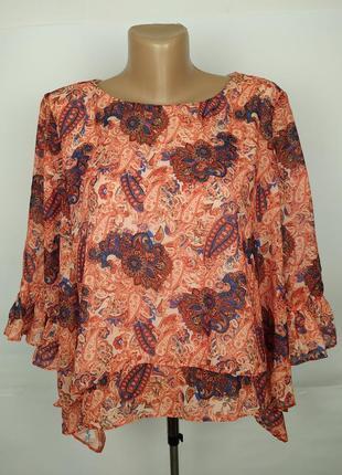 Блуза легкая приятная в принт пейсли а-образная asos uk 14/42/l