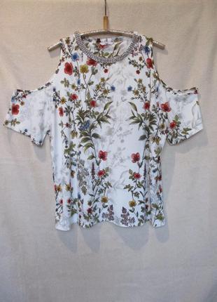 Нарядная стрейчевая блуза/открыты плечи/цветочный принт/батал