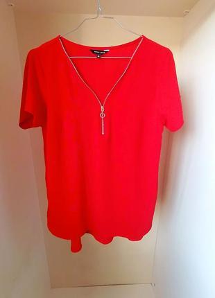 Трендовая красная блузка с замком new look (к073)