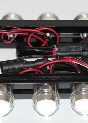 Дневные ходовые огни 5 LED DIY 2x6W (яркий белый холодный свет)